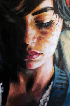 "Artist Thomas Saliot; Painting, ""Blue freckles"""