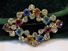 Signed MADE IN GERMANY Rhinestone Brooch Gold Blue Amethyst Clear Ruby Stones #MadeinGERMANY