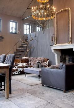 Interior Design House Home Styling Style Architecture Real… Rustic Contemporary, Modern Rustic, Rustic French, Rustic Elegance, Rustic Chic, Deco Baroque, South Shore Decorating, Living Spaces, Living Room