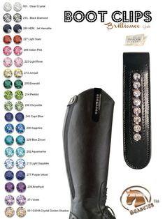 Enhance your boots with these shiny Boot Clips. Don't need to be a rider to love riders accessories ;-)  Equestrian Accessories - Bling Riding Boots Clip