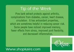 Tip of the Week from Kaire Vitamins - Pine bark extract