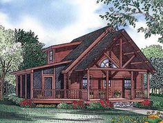 Plan Convenience and Comfort From the covered porch to the screened side porch, this log ho Log Home Plans, Cabin House Plans, Log Cabin Homes, New House Plans, Small House Plans, House Floor Plans, Log Cabins, Small Log Cabin Plans, Lake Homes