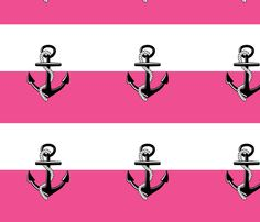 Anchor Stripes - hot pink fabric by drapestudio on Spoonflower - custom fabric - FUN preppy pink stripes - great for DIY project pillows, bedding, window treatments - preppy & coastal - shop fabric link here: http://www.spoonflower.com/designs/4387943