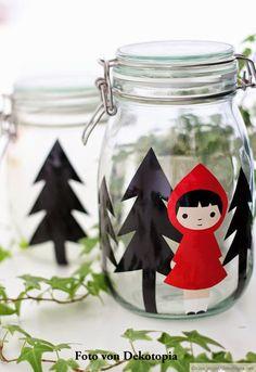 ❥Little Red Riding Hood | Mason Jar decoration