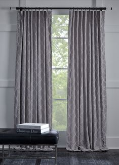 The Savannah Colleciton: a striking modern ogee embroidered on a soft gray background. Sewn at our factory in the USA. Draperies available in Signature Stores only. Drapery, Curtains, Mitchell Gold, Fabric Sofa, Gray Background, Slipcovers, Savannah Chat, Window Treatments, Sofas