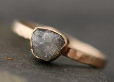 Rough Large Diamond Stacker Ring in 14k Gold- Size C Diamonds. $825.00, via Etsy.
