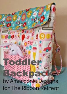 This toddler backpack is a great bag for preschool children or young children. Use as an overnight bag, for play dates or trips to grandma's. The free tutorial will help you sew your own!