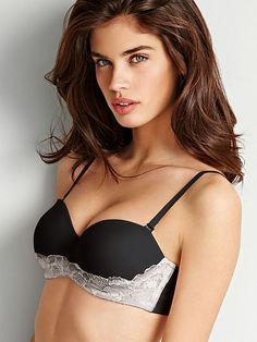 442057385e Worn by   Angel Sara Sampaio Type   Body by Victoria Multi Way Bra Color    Black with Ivory Lace Trim