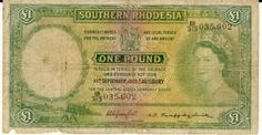 Southern Rhodesia One Pound note as per scan - RARE 10 Sept 1955