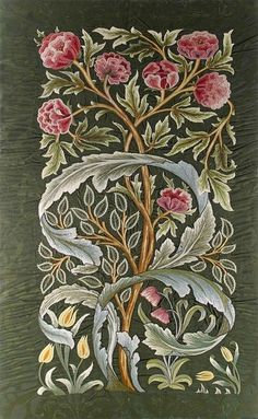 A (William) Morris & Co 'Oak' silk panel embroidered by Helen, Lady Lucas Tooth in the early 20th century. The original design is attributed to John Henry Dearle.: