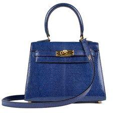 Vintage Hermès Kelly, 20cm Blue Electric, Lizard with Gold