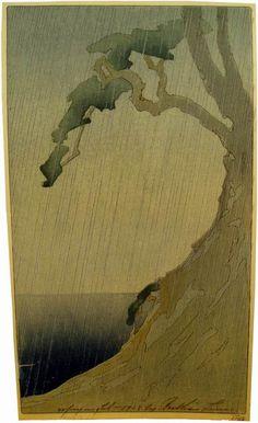 Woodblock prints (Estampes) : Rain