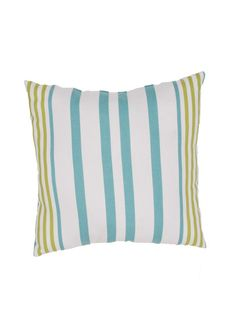 Aqua and Lime Thin Striped Outdoor Pillow