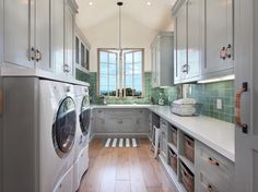 laundry room cabinets provide decorative and functional elements in the laundry room. Here are 25 ideas to create a modern laundry room. Laundry Room Cabinets, Laundry Room Storage, Laundry Room Design, Laundry Rooms, Basement Laundry, Grey Cabinets, Small Laundry, Laundry Shelves, Small Shelves