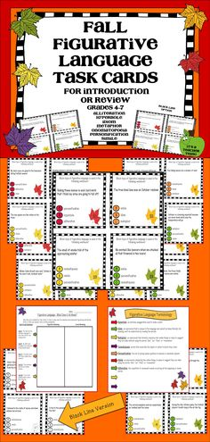 I use the CCSS aligned Fall Figurative Language Task Cards to provide an opportunity for introduction or review of figurative language.  Each card has a sentence using figurative language and three answer choices for students to consider.  Use in centers, as an introductory activity, for whole-class instruction, for a partner review activity, etc.  Includes 28 cards, a definition of terms page,  an answer document and key, a finale assessment page, and a black line version.