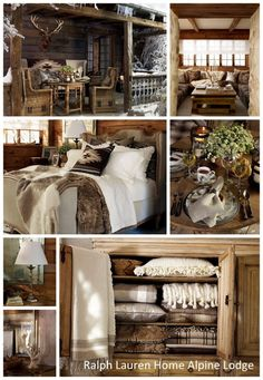Ralph Lauren Home Alpine Lodge. - Home Decor Ideas Rustic Cabin Decor, Lodge Decor, Western Decor, Cabin Homes, Log Homes, Interior Exterior, Interior Design, Alpine Lodge, Ski Chalet