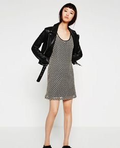 Image 1 of CROCHET DRESS WITH TWO-TONE ARGYLE PATTERN from Zara