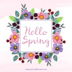 Watercolor wreath with spring text Free Vector