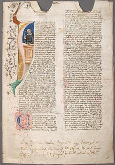 Manuscript Leaf  Date:    14th century  Geography:    Made in, Bologna (?), Italy  Culture:    Italian  Medium:    Parchment, tempera, ink, gold leaf  Dimensions:    Overall: 11 11/16 x 8 in. (29.7 x 20.3 cm) Mat size: 19 1/4 x 14 3/16 in. (48.9 x 36.1 cm)  Classification:    Manuscripts & Illuminations  Credit Line:    Gift of Louis L. Lorillard, 1896, transferred from the Library