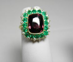 7 55 Carats 100 Natural Fine Spinel Emerald Diamond Cocktail Ring 18K Gold | eBay