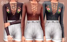 "sevensims: "" here's something new for a change i decided to recolour some of the crop tops that i liked and add roses onto some of it because i really love @our-dazed-sims' recolours also most..."