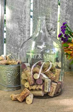 This personalized glass growler makes a witty, contemporary alternative to a traditional wedding guest book. Simply leave it out and let guests fill it with personalized mementos, signed corks, torn bits of card stock, ribbon, or mini scrolls.