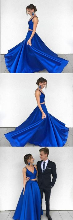 Two Piece Deep V-Neck Royal Blue Satin Prom Dress Evening Dress PG486 #prom #dress #fashion #satin #party #royalblue #pgmdress