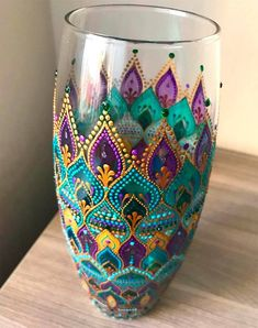 Artist: Anastasia at ANA_art Studio - List of the most creative DIY and Crafts Glass Painting Designs, Pottery Painting Designs, Dot Art Painting, Paint Designs, Stone Painting, Mandala Art, Mandala Painting, Mandala Design, Bottle Painting