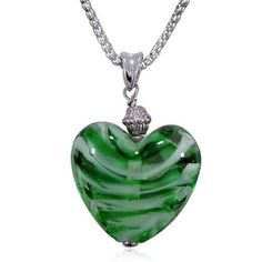 Pugster Green White Striped Heart Murano Glass Fashion Jewelry Seasonal Party Styles Pendant Necklace & Pugster. $16.99. Note: every piece of hand-made glass is slightly different in pattern and shape.. Color: Green, White. Glass Type: Murano Glass. Shape: Heart. Metal: Murano Glass