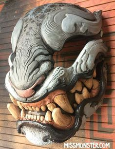 Monster Mascara Oni, Mascara Papel Mache, Hannya Maske, Japanese Mask, Fu Dog, Cool Masks, Masks Art, Foto Art, Creature Design