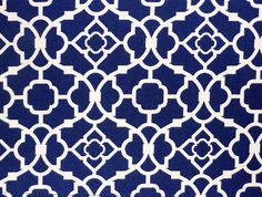 Blue Kitchen Curtain with Geometric Lattice Pattern/ by LaRicaHome