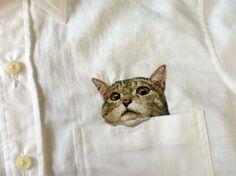 Embroidered cat by artist Hiroko Kubota