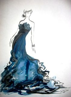 This pretty blue gown art is from Style Hive. Don't know the artist-designer. But it's a lovely painting.
