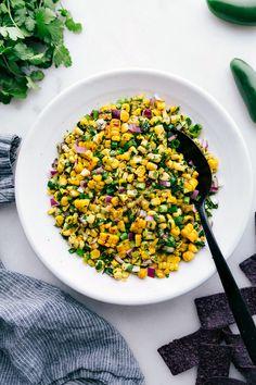 Corn Salsa Recipe {BEST Dressing!} | Chelsea's Messy Apron Corn Salsa, Spicy Salsa, Salsa Food, Chipotle Mayo, Honey Lime Chicken, Cilantro Lime Chicken, Fresh Corn Recipes, Easy Recipes, Cooking Recipes