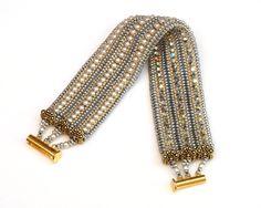 • Semi -Herringbone stitch • Stitch a 2-layered bracelet all at one time • Complete with bead caps • Ladder stitch