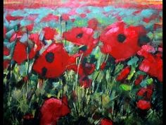 How to Paint with Acrylics: Field Of Poppies Abstract Realism. Poppy Flowers on canvas - YouTube
