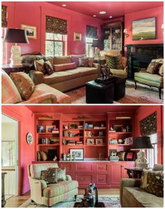 Walls, moulding and cabinets all the same color. Ceiling is one shade darker. K. Marshall Design