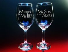 Two 20 oz clear wine glasses with Game of Thrones themed text.  Yer Jalan Atthirari Anni (Moon of My Life in Dothraki) ―Drogo  Shekh Ma Shieraki Anni (My Sun and Stars in Dothraki) ―Daenerys  We will put your names on the back for free, Just leave the names in a message at the time of checkout. One name per glass. :)  These wine glasses are permanently engraved. The design will never wash away, fade or chip off over time. You may also put these in the dishwasher!  Want Stemless? Here is a…