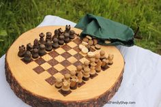 Rustic Log Checker Game Set 26 rustic checker pieces Natural Waldorf Classic Family Board Game