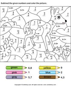 Free Math Coloring Worksheet Addition And Subtraction Math Coloring Worksheets, 2nd Grade Worksheets, Addition Worksheets, 1st Grade Math, Worksheets For Kids, Kindergarten Worksheets, Number Worksheets, Addition And Subtraction Worksheets, Preschool Math