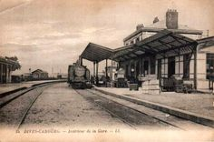 """Train station at Dives-Cabourg. See other vintage post cards from """"Cabourg"""" here: (http://merienne.jy.free.fr/01cabourg1.html)"""