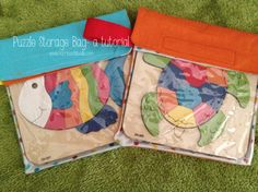 A really easy puzzle storage bag tutorial. Keeps all those pieces in place. Projects For Kids, Diy For Kids, Sewing Projects, Puzzle Storage, Toy Storage, Puzzle Bag, Diy Couture, General Crafts, Wooden Puzzles