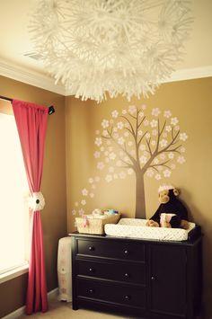 Nursery I designed, Ikea Light and Babies R Us Decal