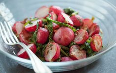 Radishes and sea salt are a classic French combination. Here, we've reinvented that classic by roasting the radishes along with the good-for-you (and often discarded) radish tops to boost the flavor. Then they're tossed with butter, honey, fresh herbs and lemon and served warm. This one-pan dish made with basic ingredients and classic flavors equals a new addition to your family table.