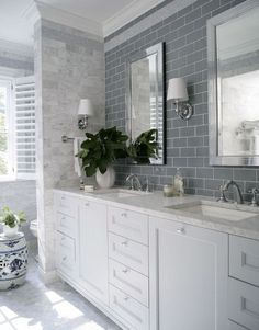 master bathroom inspiration Georgian Dream - traditional - bathroom - raleigh - by Heather Garrett Design Hampton Style Bathrooms, Grey Bathrooms, Beautiful Bathrooms, Small Bathroom, Master Bathroom, Bathroom Gray, Gray And White Bathroom Ideas, Bathroom Mirrors, Bathroom Layout