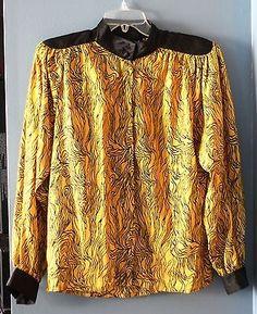 Vintage Nilani Satin Feel Gold Black Printed Long Sleeve Blouse Size 7/8