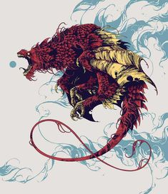 Wyvern procreate beatiary dragon wyvern creature feathers further up ivan belikov illustration Creatures 3, Fantasy Creatures, Mythical Creatures, Art And Illustration, Illustrations, Creature Concept, Dragon Art, Red Dragon, Dope Art