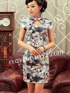 Blue Floral Short Silk Qipao / Cheongsam / Chinese Dress