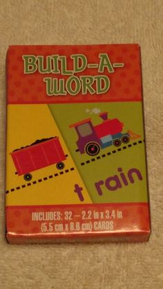 educational learning cards build-a-word