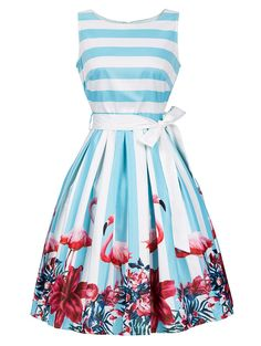 Floral and Striped Sleeveless Dress with Belt - LIGHT BLUE M